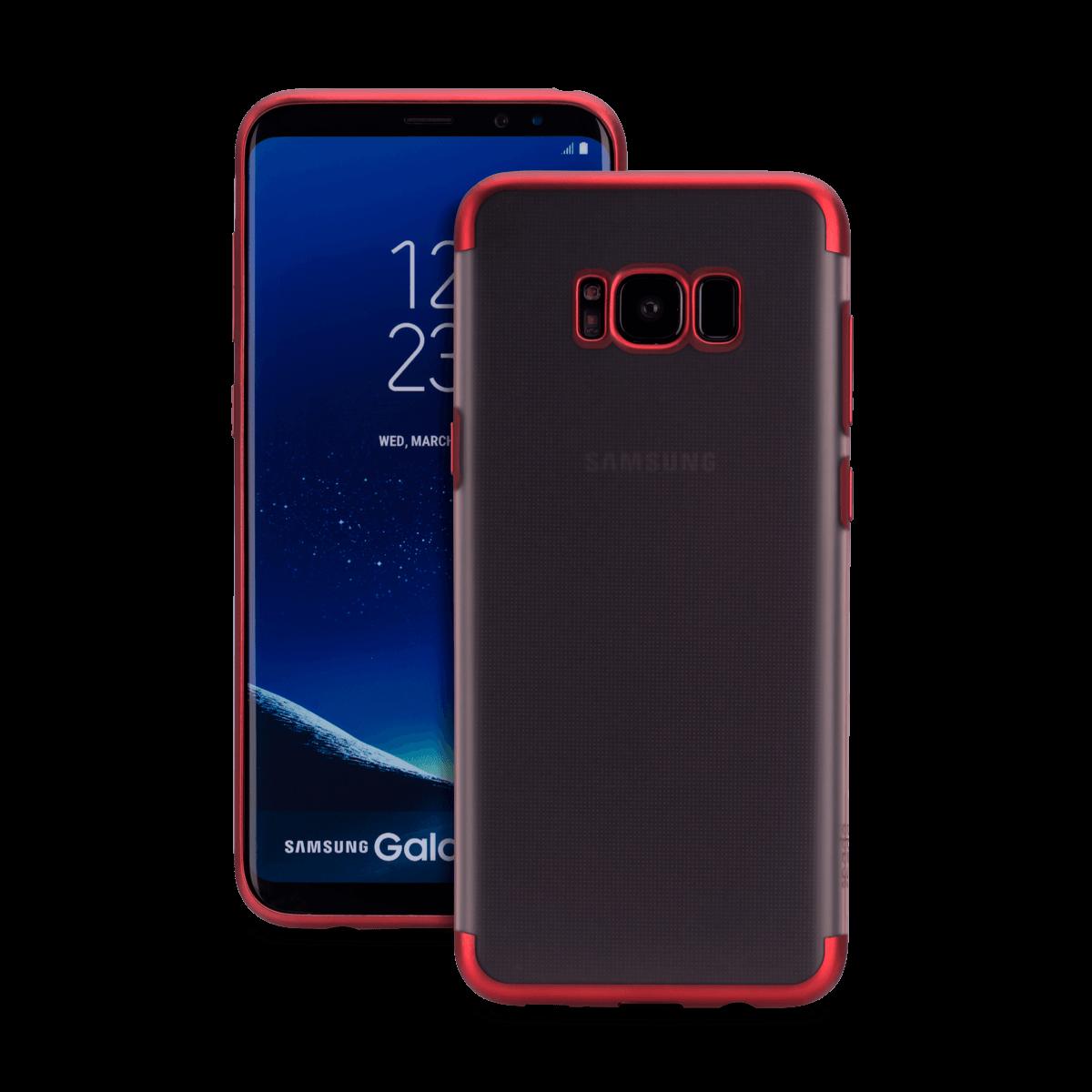 Samsung S8 için spada TRIO Seffaf/Kırmızı TPU Kapak